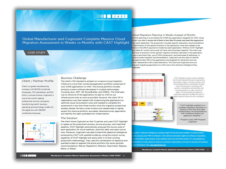 Global Manufacturer and Cognizant Complete Massive Cloud Migration Assessment in Weeks vs Months with CAST Highlight